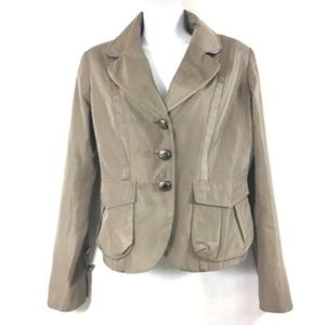 Khaki Lined Jacket Blazer M Shiny w Ribbon Light